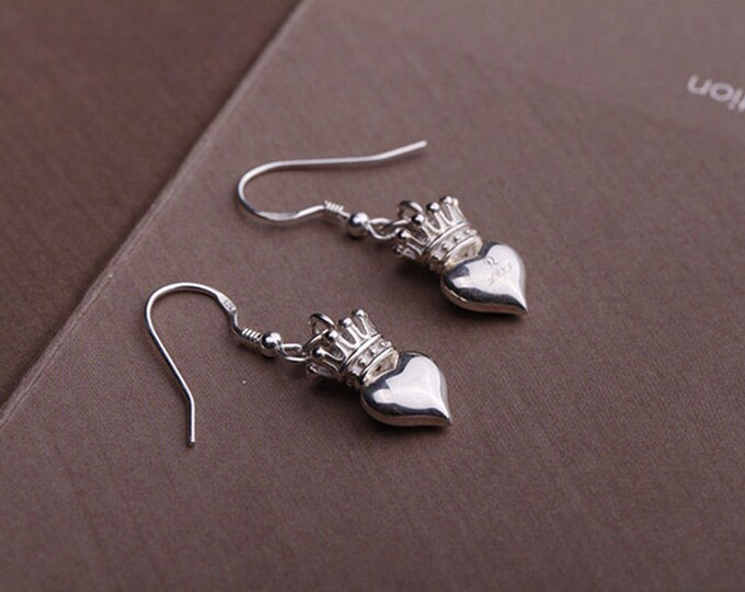 Silver Crown Earrings | Princess Earrings | Silver Heart Earrings | Crown Dangle Earrings | Queen Earrings | Bridal Earrings | Drop Earrings