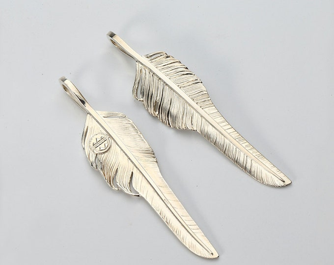 Silver Feather Pendant | Native American Inspired | Eagle Feather Jewelry | Silver Eagle Feather | Tribal Feather Charm | Bohemian Pendant