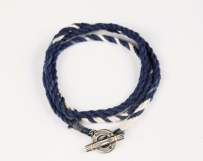Handmade Cotton Rope Necklace | Blue Cord Necklace | Rope Braided Necklace Bohemian | Unisex Cotton Cord Necklace | Two Tone Rope Jewelry