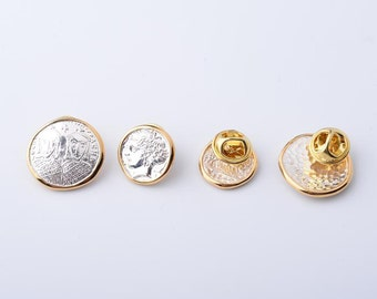 Coin Lapel Pin   Silver Collar Pin   Ancient Coin Charm   Sterling Silver Brooch   Replica Coin Charm   Silver 24K Gold Coin   Coin Jewelry
