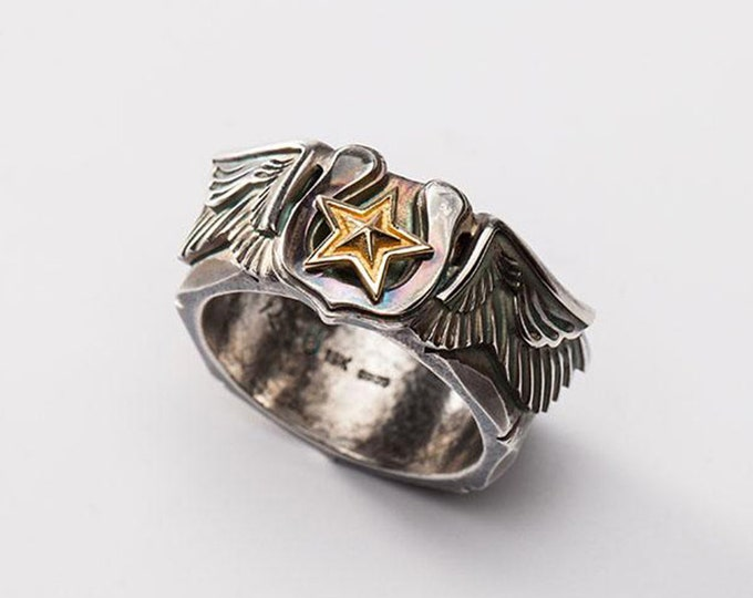 Silver Wing Ring   Angel Wing Ring   Gold Star Ring   Lucky Star Ring   Horseshoe Ring   Engraved Silver Band  Oxidized Silver 18K Gold Ring