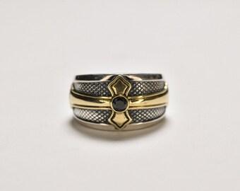 Brass Cross Ring Men | Mens Medieval Ring | Religious Ring Vintage Men | Silver King Ring | Gemstone Ring Black Onyx | Sapphire Ring Ruby