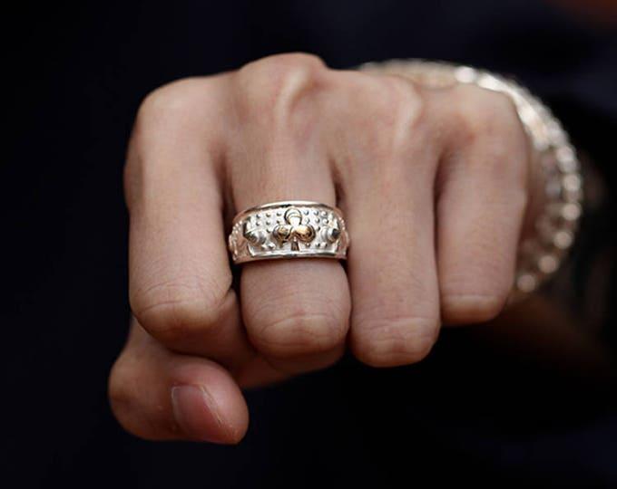 Silver Club Ring   Gold Club Charm Ring   Four Leaf Clover Ring   Mens Lucky Ring   Club Band Ring   Gambling Ring   Gambling Jewelry Casino