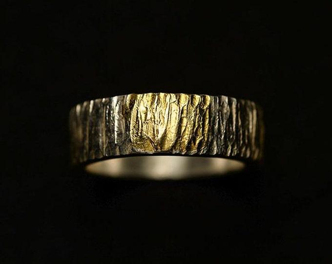 Textured Silver Band   Hammered Silver Band   Gold Inlay Ring   Rustic Wedding Band   Rough Silver Band   Tree Bark Band   Mens Thumb Ring