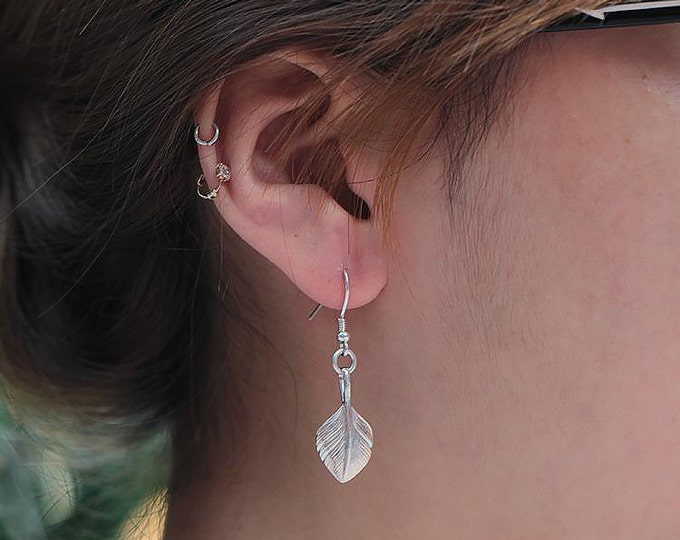 Silver Feather Earring   Native American Inspired   Palm Leaf Earring   Feather Dangle Earring   Boho Silver Earring   Tribal Style Earring