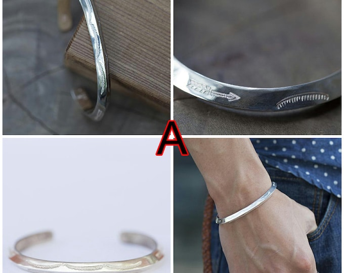 Tribal Silver Bangle | Navajo Inspired | Sterling Silver Bangle | Ethnic Silver Bracelet | Bangle Bracelet | Personalized Silver Mens Bangle