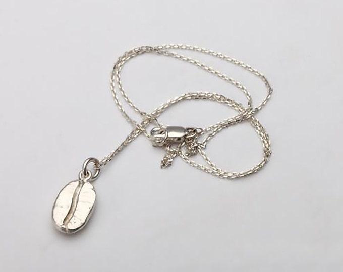 Coffee Bean Necklace | Silver Coffee Bean Pendant | Coffee Bean Charm | 925 Sterling Silver Charm | Simple Silver Chain | Thin Silver Chain