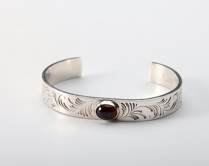 Garnet Bangle | January Birthstone Bangle | Silver Cuff Bracelet | Engraved Silver Bracelet | Open Silver Bangle | Personalized Bangle Cuff