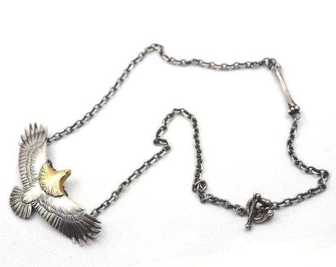 Eagle Necklace   Silver Eagle Charm   Eagle Jewelry   Bird Necklace   18K Gold Charm   Silver Eagle Pendant   Tribal Charm Necklace Oxidized