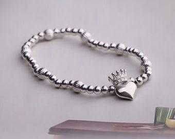 Silver Heart Bracelet | Tiny Heart Bracelet | Silver Crown Bracelet | Crown Charm Bracelet | Princess Bracelet Queen |Silver Beaded Bracelet