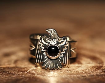 Thunderbird Ring | Silver Eagle Ring | Flying Bird Ring | Native American Inspired | Black Onyx Ring | Engraved Silver Ring | Arrow Ring