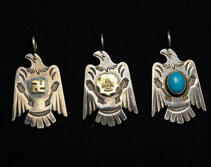 Silver Eagle Pendant | Native American Inspired | Silver Bird Charm | Flying Bird Pendant | 925 Silver Eagle Charm | 18K Gold Charm Gemstone