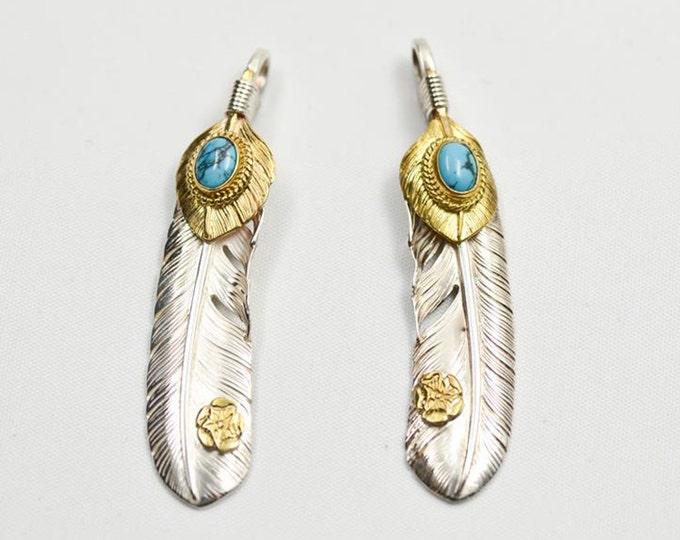 Silver Feather Pendant | Native American Inspired | Double Feather Charm | Small Feather Charm | Damascus Steel Pendant | Turquoise Gemstone
