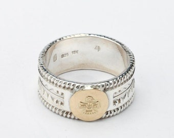 Thunderbird Ring | Native American Inspired | Gold Bird Ring | Engraved Silver Band | Silver and Gold Ring | Personalized Tribal Silver Band