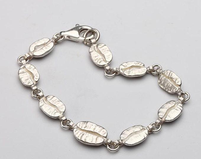 Coffee Bean Bracelet | Coffee Bean Jewelry | Silver Coffee Beans | Coffee Lover Jewelry | Coffee Bean Charm | Dainty Silver Bead Bracelet
