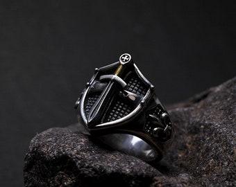 Sterling Silver Sword Ring For Men | Silver Shield Ring | Fleur De Lis Ring | Gold Dagger Ring | Men Signet Ring | Excalibur Ring For Him