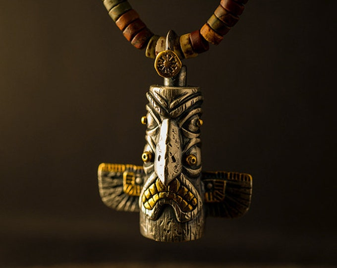 Silver Totem Pendant Two Tone Totem Jewelry | Mens Rotatable Pendant Spinning Jewelry | Gold Thunderbird Pendant Tribal Jewelry Gold Teeth