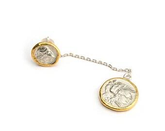 Gold Coin Earring   24K Gold Earring   Drop Earring   Gold Plated Earring   Silver Coin Stud Earring   Dangle Earring Sets  Two Tone Earring