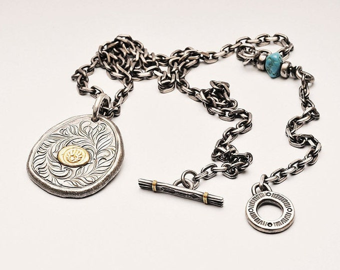 Mens Silver Pendant Necklace | Flower Pendant Chain Necklace | Two Tone Pendant Silver Chain | Eagle Symbol Pendant Gold | Oxidized Jewelry