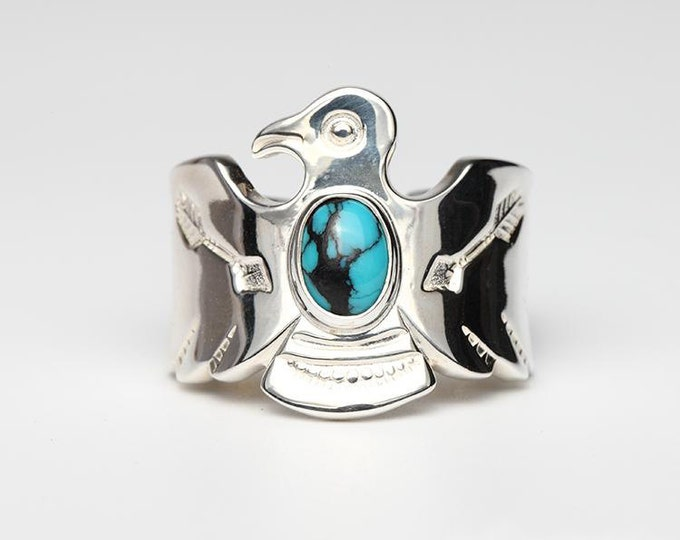Thunderbird Ring   Native American Inspired   Silver Wrap Ring   Silver Gemstone Ring   Arrow Ring   Adjustable Ring   Oxidized Silver Ring