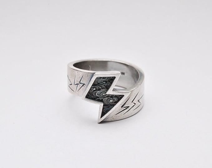 Sterling Silver Thunder Ring | Lightning Bolt Ring | Nature Inspired Ring For Men | Cloud Ring Unisex | Storm Rings | Power Ring Mens Gift