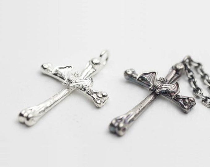 Gothic Cross Pendant | Silver Cross | Morbid Jewelry | Goth Pendant | Silver Bat Pendant | Gothic Crucifix | Oxidized Silver Mens Cross