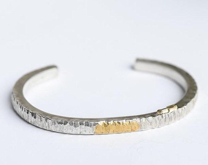 Thin Silver Bangle | Silver and Gold Bangle | Silver Hammered Bangle | 24K Gold Inlay Bangle | Minimalist Bracelet | Arrow Charm Bracelet