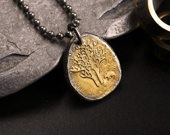 Gold and Silver Pendant | Animal Pendant Two Tone | Forest Pendant Bear Jewelry | Pine Tree Pendant | Yellow Gold Pendant | Tree Jewelry