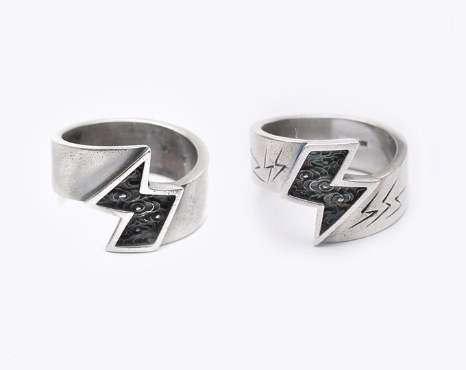 Sterling Silver Thunder Ring | Lightning Bolt Ring | Nature Inspired Ring For Men | Cloud Ring Unisex | Storm Rings | Power Ring Mens Gift