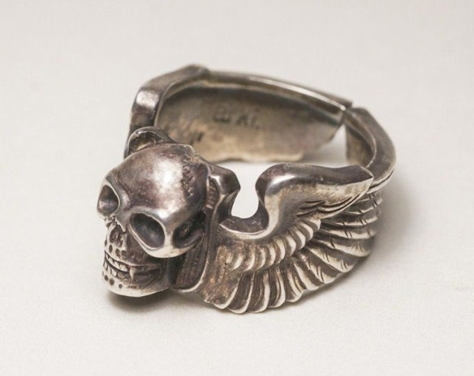 sterling silver skull ring men, biker jewelry for men, gothic jewelry men, goth ring silver, husband birthday gift from wife, punk jewelry