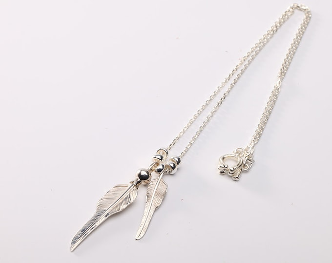 Silver Feather Necklace | Native American Inspired | Silver Feather Pendant | Squash Blossom Charm | Silver Feather Charm | Feather Jewelry