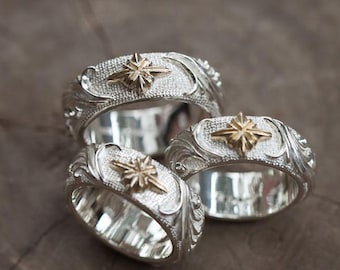 Floral Silver Band | Silver Couples Ring | Gold Star Ring | Textured Silver Band | Engraved Silver Ring | Personalized Ring | Proposal Band