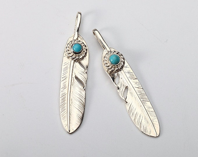 Silver Feather Pendant | Native American Inspired | Tribal Silver Charm | Feather Jewelry | Silver Turquoise Charm | Tribal Feather Charm