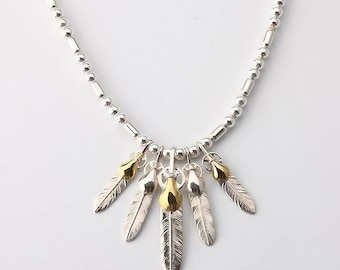 Silver Bead Necklace | Deer Leather | Silver Feather Necklace | Native American Inspired | Gold and Silver Feather Pendant | Tribal Necklace