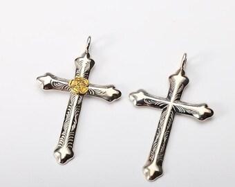 Silver Cross Pendant | Engraved Silver Cross | Silver Cross Charm | Religious Charm | Silver Crucifix | Silver Gold Cross | Engraved Charm