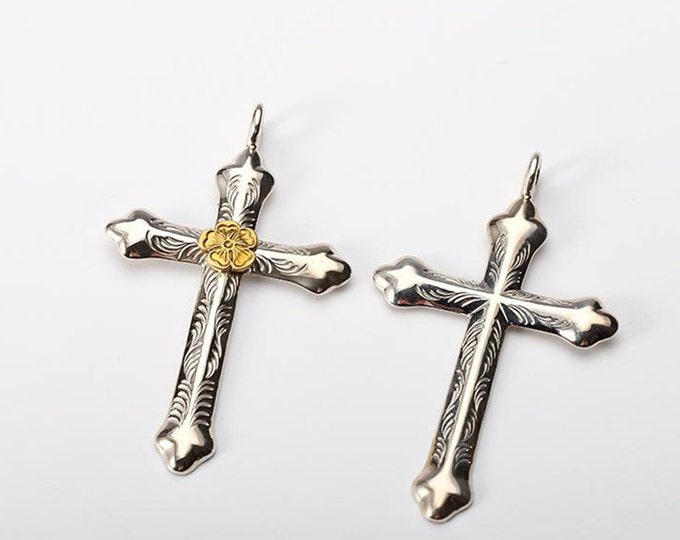 Silver Cross Pendant | Engraved Silver Cross | Silver Cross Charm | Religious Charm | Silver Crucifix | Silver Gold Cross | Engraved Charm