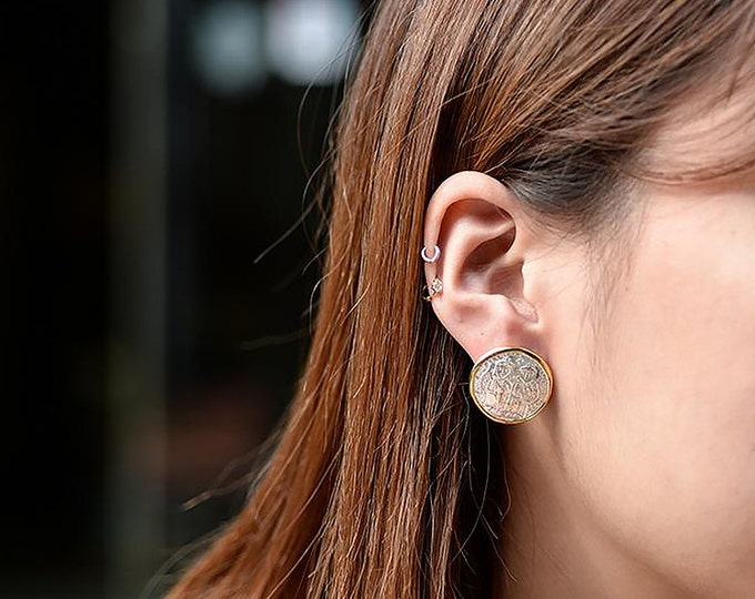Vintage Coin Earring   Coin Stud Earring   Silver Gold Studs   Greek Coin Earring   Two Tone Studs   Large Studs   Vintage Post Earring
