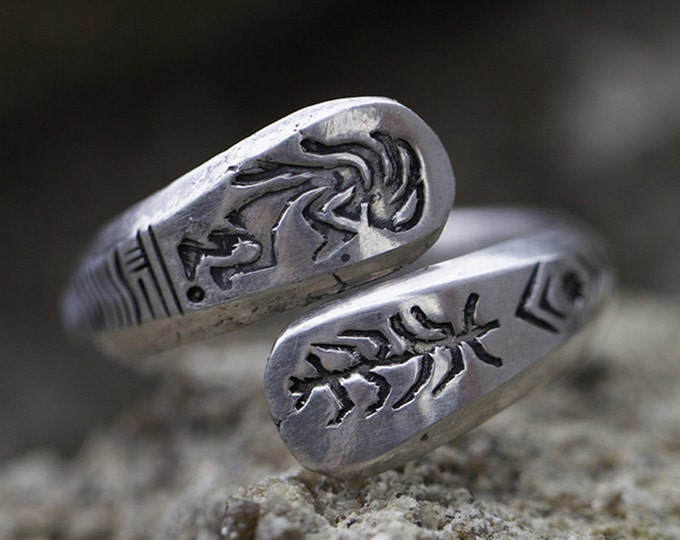 Native American Inspired   Hopi Ring   Kokopelli Ring   Engraved Silver Ring   925 Sterling Silver Ring   Personalized Ring   Tribal Ring