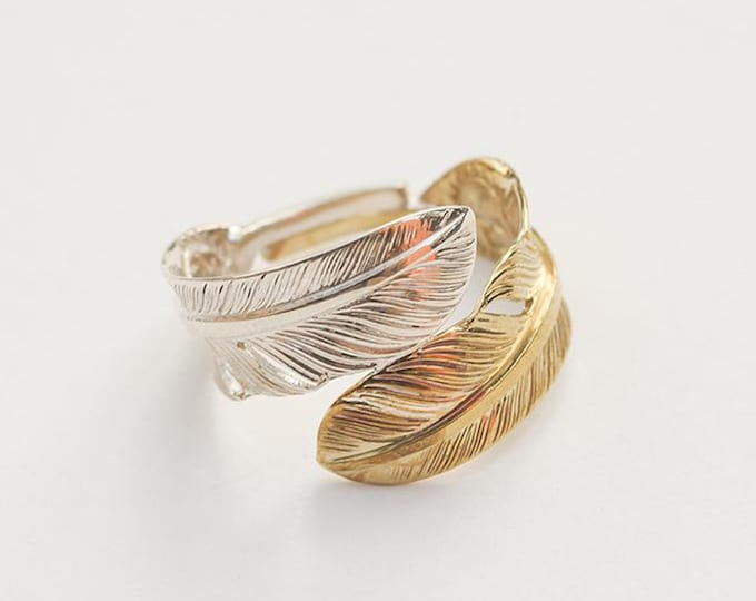 Silver Feather Ring | Native American Inspired | Double Feather Ring | Feather Wrap Ring |Silver and Gold Ring| Feather Couple Ring Two Tone