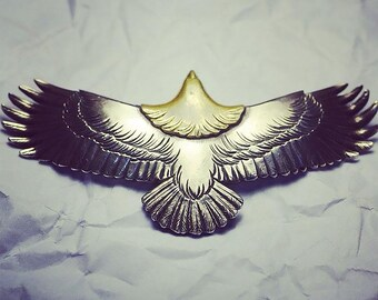 Silver Eagle Pendant | Native American Inspired | Bald Eagle Charm | Silver Eagle Necklace | Silver Gold Charm | Oxidized Silver Pendant