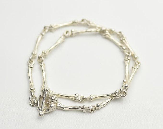 Silver Bone Necklace   Gothic Necklace   Halloween Jewelry   Sterling Silver Bone   Silver Bone Charm   Boho Silver Necklace   Silver Charm