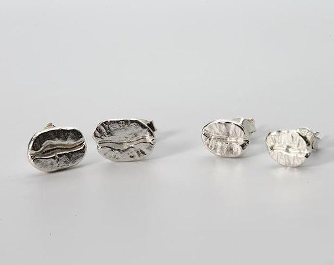 Silver Coffee Bean Earring | Coffee Stud Earring | Coffee Dangle Earring | Coffee Lover Earring | Silver Stud Earring | Everyday Earring