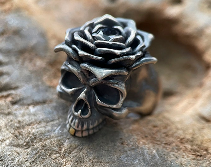Silver Skull Ring | Jawless Skull Ring Gold Tooth | Gothic Ring Mens Jewelry | Biker Jewelry For Men | Goth Ring Silver |Silver Punk Jewelry