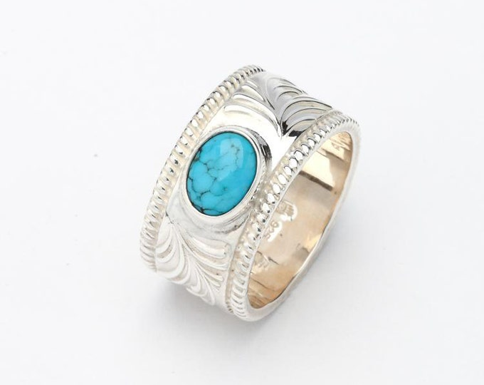 Engraved Silver Band   Turquoise Silver Ring   Oxidized Silver Band   Floral Pattern Ring   Arabesque Ring   Personalized Ring  Gift for Him