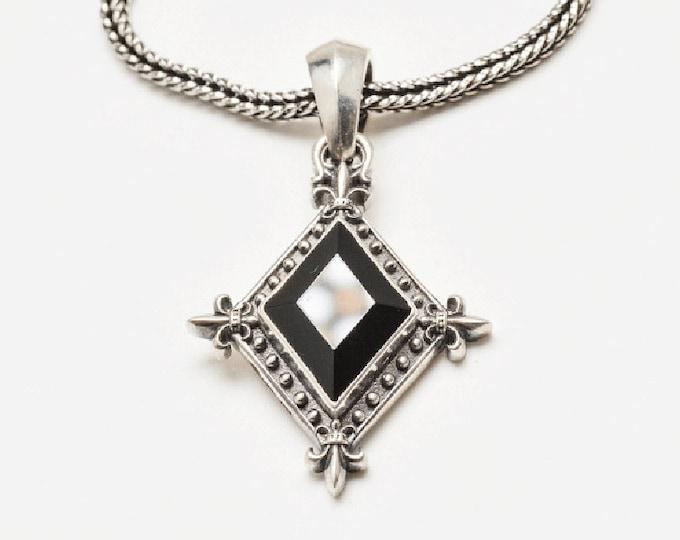 Fleur-de-lis Pendant | Floral Necklace Silver | Black Onyx Pendant Necklace | Medieval Necklace Mens | Black Stone Necklace Rhombus Pendant