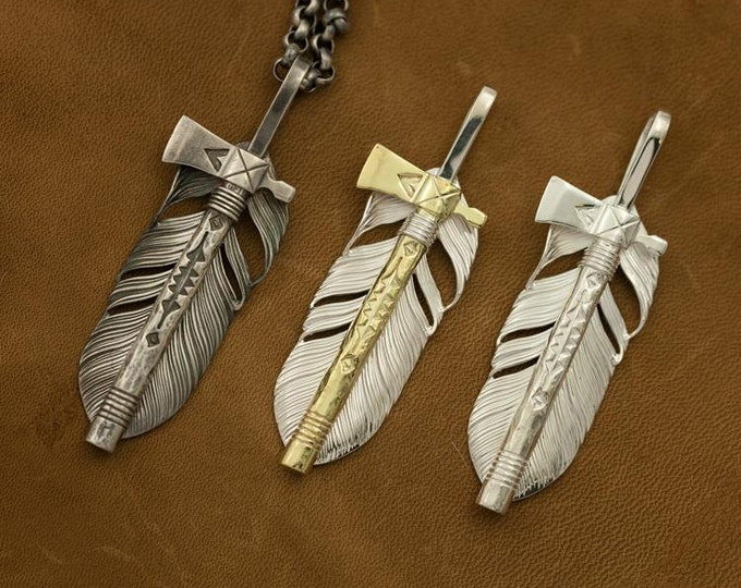 sterling silver pipe tomahawk axe pendant, Native America Indian jewelry, silver feather pendant, tribal jewelry for men, hatchet pendant