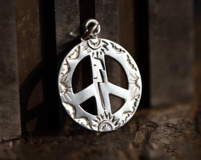 Peace Sign Pendant   Hippie Pendant   Peace Sign Charm   Silver Peace Symbol   Boho Pendant   Hippie Style Jewelry   Thunder Bolt Pendant