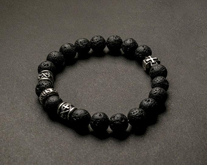 Genuine Lava Basalt Bracelet   Silver Beads Bracelet Black   Lava Bracelet Stone   Silver Cross Charm Bracelet  Volcanic Rock Bracelet Women