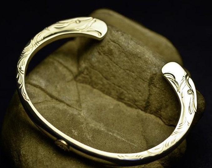 Eagle Bracelet   Eagle Head Bangle   Sterling Silver Bangle   Flying Bird Bangle   Silver and Gold Bangle   Native American Inspired Cuff