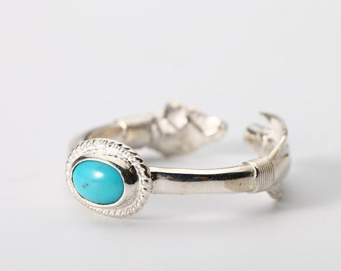 Silver Arrow Ring   Hammered Silver Ring   Native American Inspired   Silver Turquoise Ring   Arrow Jewelry   Adjustable Ring   Dainty Ring